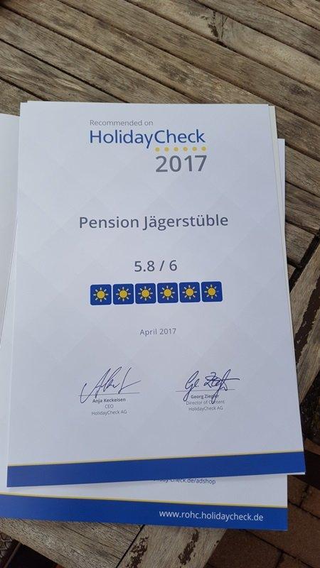 Bewertungen Holidaycheck Urkunde Pension Jägerstüble